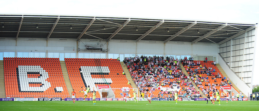 Exeter City fans watch the match, the rest of the North Stand is empty<br /> <br /> Photographer Kevin Barnes/CameraSport<br /> <br /> Football - The EFL Sky Bet League Two - Blackpool v Exeter City - Saturday 6th August 2016 - Bloomfield Road - Blackpool<br /> <br /> World Copyright © 2016 CameraSport. All rights reserved. 43 Linden Ave. Countesthorpe. Leicester. England. LE8 5PG - Tel: +44 (0) 116 277 4147 - admin@camerasport.com - www.camerasport.com