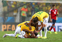 Brazil players celebrate on the final whistle