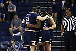 CHARLOTTESVILLE, VA - FEBRUARY 15: Notre Dame's starters huddle before the game. The University of Virginia Cavaliers hosted the University of Notre Dame Fighting Irish on February 15, 2018 at John Paul Jones Arena in Charlottesville, VA in a Division I women's college basketball game. Notre Dame won the game 83-69.
