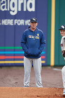 Scranton/Wilkes-Barre RailRiders pitching coach Tommy Phelps (57) in the bullpen before an International League game against the Buffalo Bisons on June 5, 2019 at Sahlen Field in Buffalo, New York.  Scranton defeated Buffalo 3-0, the first game of a doubleheader.  (Mike Janes/Four Seam Images)