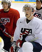 Vinny Saponari (US White - 20) (Van Riemsdyk, Smith) - US players take part in practice on Friday morning, August 8, 2008, in the NHL Rink during the 2008 US National Junior Evaluation Camp and Summer Hockey Challenge in Lake Placid, New York.