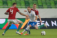 Kostas Fortounis (C) of Greece fight for the ball with Tamas Kadar (L) and Laszlo Kleinheisler (R) of Hungary during the UEFA Nations' League qualifying match between Hungary and Greece at the Groupama Arena stadium in Budapest, Hungary on Sept. 11, 2018. ATTILA VOLGYI