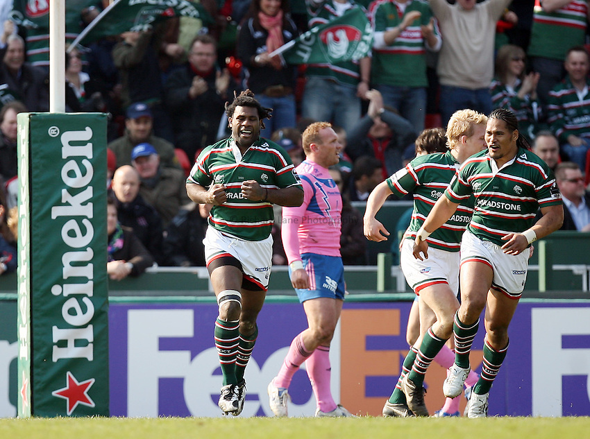 Photo: Rich Eaton..Leicester Tigers v Stade Francais. Heineken Cup. 01/04/2007. Seru Rabeni left celebrates scoring his first half try for Leicester