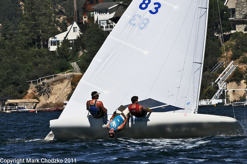 Sailing action on Lake Arrowhead, CA