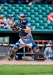 18 July 2018: Trenton Thunder catcher Ryan Lidge in action against the New Hampshire Fisher Cats at Northeast Delta Dental Stadium in Manchester, NH. The Thunder defeated the Fisher Cats 3-2 concluding a previous game started April 29. Mandatory Credit: Ed Wolfstein Photo *** RAW (NEF) Image File Available ***