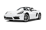 Stock pictures of low aggressive front three quarter view of 2019 Porsche 718-Boxster - 2 Door Convertible Low Aggressive