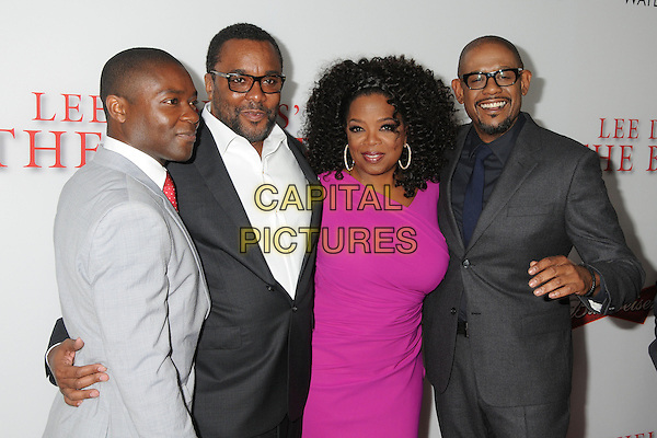 David Oyelowo, Lee Daniels, Oprah Winfrey, Forest Whitaker<br /> &quot;Lee Daniels' The Butler&quot; Los Angeles Premiere held at Regal Cinemas L.A. Live, Los Angeles, California, USA.<br /> August 12th, 2013<br /> half length grey gray suit jacket white shirt black pink dress glasses beard goatee facial hair <br /> CAP/ADM/BP<br /> &copy;Byron Purvis/AdMedia/Capital Pictures