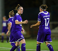 20190920 – LEUVEN, BELGIUM : RSC Anderlecht's  Britt Vanhummel is pictured congratulating Laura-Roxana Rus (17)  for her assist to Tine De Caigny's goal during a women soccer game between Dames Oud Heverlee Leuven A and RSC Anderlecht Ladies on the fourth matchday of the Belgian Superleague season 2019-2020 , the Belgian women's football  top division , friday 20 th September 2019 at the Stadion Oud-Heverlee Korbeekdam in Oud Heverlee  , Belgium  .  PHOTO SPORTPIX.BE | SEVIL OKTEM