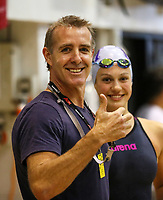 Paul Kent and Brearna Crawford. Swimming New Zealand Aon National Age Group Championships, Wellington Regional Aquatic Centre, Wellington, New Zealand, Wednesday 17 April 2019. Photo: Simon Watts/www.bwmedia.co.nz