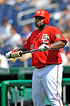 8 June 2008: Washington Nationals' first baseman Dmitri Young stands ready in the on-deck circle during a game against the San Francisco Giants at Nationals Park in Washington, DC. The Nationals dropped the afternoon matchup to the Giants 6-3 in their third consecutive loss of the 4-game series...Mandatory Photo Credit: Ed Wolfstein Photo