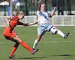 7 November 2007: North Carolina's Meghan Klingenberg (4) tries to block the clear from Clemson's Molly Johnson (left). The University of North Carolina defeated Clemson University 3-0 at the Disney Wide World of Sports complex in Orlando, FL in an Atlantic Coast Conference tournament quarterfinal match.