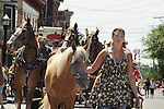 The Noah's Ark Nursery School float being drawn by horses in the Saugerties July 4th Parade on Main Street in Saugerties, NY on Monday, July 4, 2011. Photo by Jim Peppler. Copyright © Jim Peppler 2011.