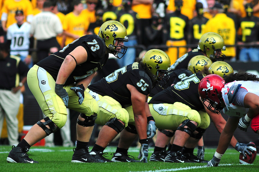 06 September 08: Colorado offensive linemen, including tackle Ryan Miller (73) on a play against Eastern Washington. The Colorado Buffaloes defeated the Eastern Washington Eagles 31-24 at Folsom Field in Boulder, Colorado. FOR EDITORIAL USE ONLY