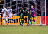13th July 2020, Orlando, Florida, USA;  Portland Timbers midfielder Diego Chara (21) celebrates with Yimmi Chara as Portland scores a goal for 0-1 during the MLS Is Back Tournament between the LA Galaxy versus Portland Timbers on July 13, 2020 at the ESPN Wide World of Sports, Orlando FL.