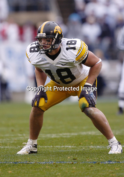 23 October 2004:  Chad Greenway, Iowa LB...Iowa defeated Penn State 6-4  October 23, 2004 at Beaver Stadium in State College, PA....