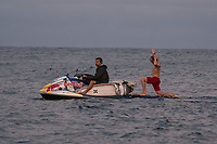 NAMOTU, Fiji (Sunday, June 4, 2017) Dino Andino (USA) and his son Kolohe Andino (USA) heading out to the line up. -  The world&rsquo;s best surfers have arrived in the South Pacific for Stop No. 5 on the 2017 World Surf League (WSL) Championship Tour (CT), the Outerknown Fiji Pro and they went straight into first day action with Round 1 of the men's called on for an 8am start.  <br /> <br /> The delayed final of the Outerknown Fiji Women&rsquo;s Pro was run prior to the start of the Men's Round 1 with California&rsquo;s Courtney Conlogue (USA) taking the win over Hawaii&rsquo;s Tatiana Weston-Webb (HAW)<br /> <br /> The 2017 World Title the race for the men is closer than ever heading into Fiji with only 300 points separating No. 1 on the Jeep Leaderboard, John John Florence (HAW), from 2015 WSL Champion Adriano de Souza (BRA), and 2017 World Title contenders Jordy Smith (ZAF) and Owen Wright (AUS). <br /> <br /> <br /> Photo: joliphotos.com