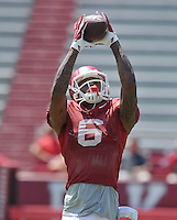 NWA Democrat-Gazette/MICHAEL WOODS &bull; @NWAMICHAELW<br /> University of Arkansas receiver Kendrick Edwards runs drills during practice Saturday, August 15, 2015 at Razorback Stadium in Fayetteville.