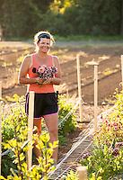 Flower farmer, Mechelle Gray of Lotts of Flowers, with morning harvest, cut flower small business