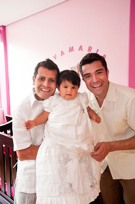 Mexico's first married gay couple to adopt a child; Victor Temoct Benitez, Jorge Moller Schuster & Evamaria.  Mexico City