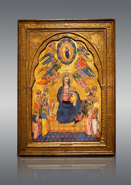 Gothic altarpiece of Madonna Of Humility With The Eternal Father In Glory, by Cenni di Francesco di Ser Cenni of Florence, circa 1375-80, tempera and gold leaf on wood. The Madonna and Child are depicted with the 12 apostles. National Museum of Catalan Art, Barcelona, Spain, inv no: MNAC  212805.