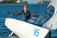 Salve's Stephanie Clancy,'17, left, captain, and Crete Clifford, crew, sail during practice in the Newport Harbor.