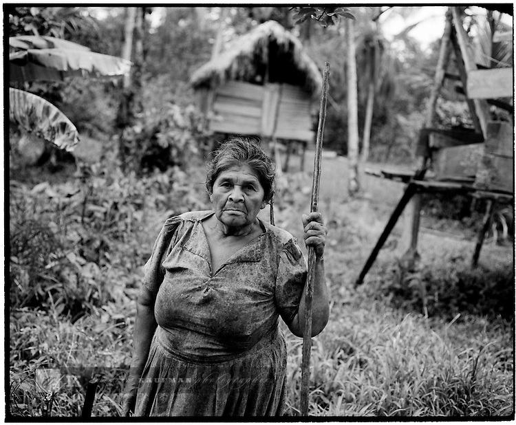 June/July, 2004. Panama, Central America. A Guaymi Indian woman in her domain. The life of Bocas Del Toro on the Caribbean sea what is called the Mosquito coast.
