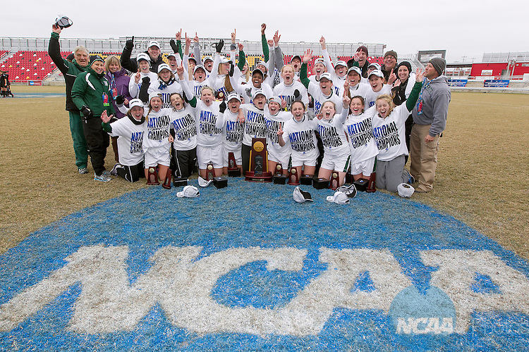 07 DEC 2013:  Members of William Smith College celebrate with the Championship Trophy after defeating Trinity (Texas) following the Division III Women's Soccer Championship held at Toyota Park in San Antonio, TX.  William Smith defeated Trinity, 2-0 for the national title.  Rudy Gonzalez/NCAA Photos