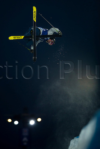 28.02.2016. Wyller Oslo Winter Park, Oslo, Norway. Red Bull X Games. Men's Ski SuperPipe Final. David Wise of United States soars high above the crowd during the Red Bull X Games Oslo 2016 at the Wyller Oslo winter park in Oslo, Norway.