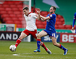 Paul Coutts of Sheffield Utd tussles with Carl Winchester of Oldham Athletic during the Sky Bet League One match at The Bramall Lane Stadium.  Photo credit should read: Simon Bellis/Sportimage