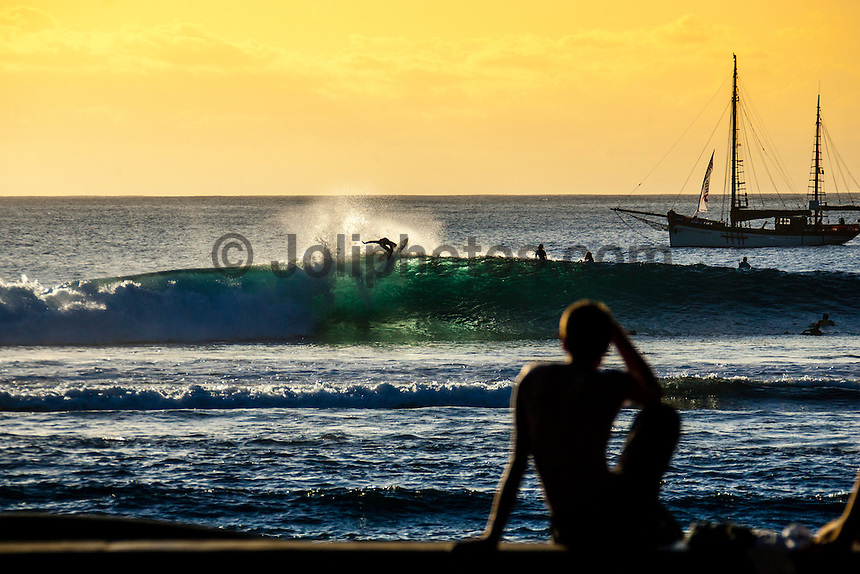 Mick Fanning (AUS) surfing at St Leu, Reunion Island. Photo: Joli