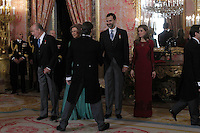 Prince Felipe of Spain, Princess Letizia of Spain, Queen Sofia of Spain and King Juan Carlos of Spain attends the reception of the diplomatic corps in Spain at Palacio Real. January 23, 2013. (ALTERPHOTOS/Caro Marin) /NortePhoto