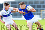 David Clifford East Kerry takes on Shane Courtney Dingle during the County Championship game in Fitzgerald Stadium on Sunday