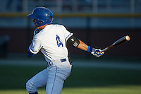 Nicky Lopez (4) of the Burlington Royals follows through on his swing against the Princeton Rays at Burlington Athletic Stadium on August 12, 2016 in Burlington, North Carolina.  The Royals defeated the Rays 9-5.  (Brian Westerholt/Four Seam Images)