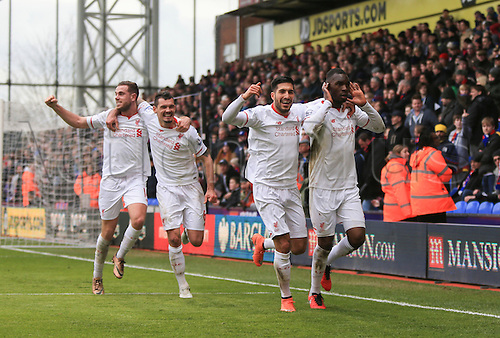06.03.2016. Selhurst Park, London, England. Barclays Premier League. Crystal Palace versus Liverpool. The Liverpool players including goalscorer Christian Benteke celebrate their goal in the last minute which won them the game.