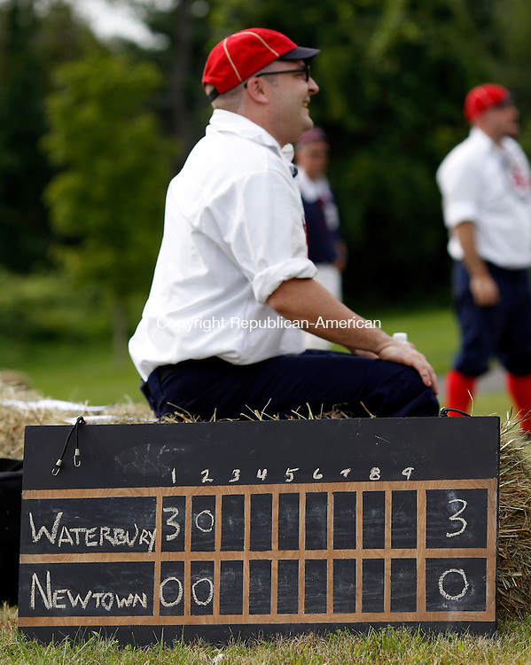 Roxbury, CT- 13, August 2011-081311CM07 COUNTRY LIFE ONLY PLEASE Score was kept with chalk as the Roxbury Recreation Commission's vintage baseball game between the Newtown Sandy Hooks and the Waterbury Connors.  Christopher Massa Republican-American