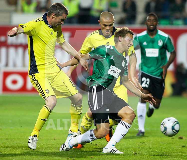 28.07.2011, Keine Sorgen Arena, Ried im Innkreis, AUT, UEFA EL Qualifikation, SV Josko Ried vs Brondby IF, im Bild (v.l.n.r.)Mikael Nilsson, (Brøndby IF, Midfield, #08) und Daniel Royer, (SV Josko Ried, #7) // during football match between SV Josko Ried (AUT) and Brondby IF (DEN) 1st Leg of Europa League third Qualifying Round, on July 28, 2011 at Keine Sorgen Arena Ried im Innkreis, Austria. EXPA Pictures © 2011, PhotoCredit: EXPA/ R. Hackl