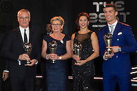 Zurigo 09-01-2017 FIFA Football Awards - Claudio Ranieri (ITA), Silvia Neid (GER), Carli Lloyd (USA) and Cristiano Ronaldo (POR) pose with their awards during the Best FIFA Football Awards 2016 in Zurich<br /> Foto Steffen Schmidt/freshfocus/Insidefoto
