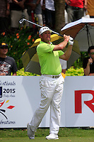 Lee Westwood (ENG) on the 15th tee during Round 3 of the Maybank Malaysian Open at the Kuala Lumpur Golf & Country Club on Saturday 7th February 2015.<br /> Picture:  Thos Caffrey / www.golffile.ie