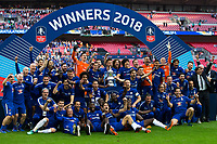 Chelsea players celebrate with the trophy <br /> <br /> Photographer Craig Mercer/CameraSport<br /> <br /> Emirates FA Cup Final - Chelsea v Manchester United - Saturday 19th May 2018 - Wembley Stadium - London<br />  <br /> World Copyright &copy; 2018 CameraSport. All rights reserved. 43 Linden Ave. Countesthorpe. Leicester. England. LE8 5PG - Tel: +44 (0) 116 277 4147 - admin@camerasport.com - www.camerasport.com