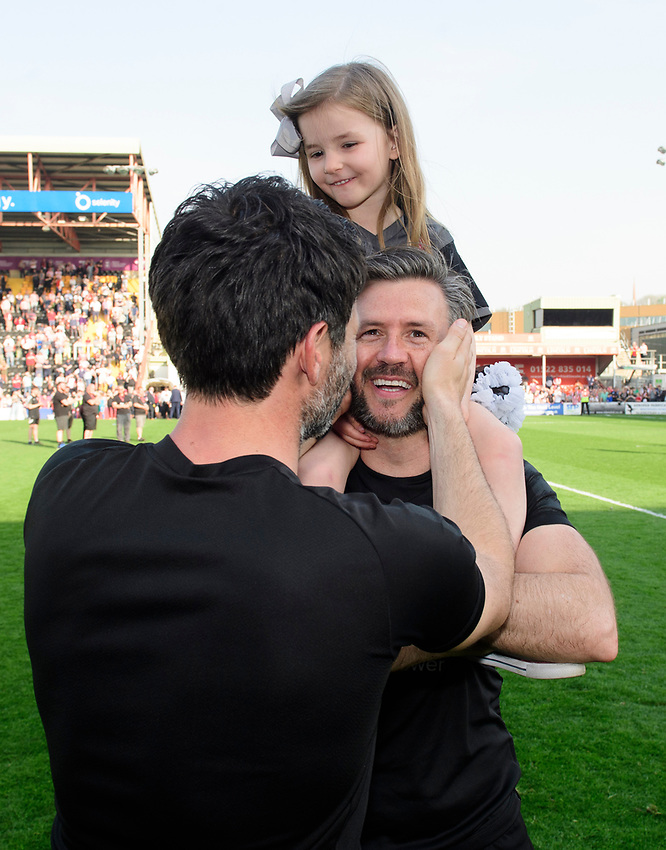 Lincoln City manager Danny Cowley, left, and Lincoln City's assistant manager Nicky Cowley celebrate after winning the league<br /> <br /> Photographer Chris Vaughan/CameraSport<br /> <br /> The EFL Sky Bet League Two - Lincoln City v Tranmere Rovers - Monday 22nd April 2019 - Sincil Bank - Lincoln<br /> <br /> World Copyright © 2019 CameraSport. All rights reserved. 43 Linden Ave. Countesthorpe. Leicester. England. LE8 5PG - Tel: +44 (0) 116 277 4147 - admin@camerasport.com - www.camerasport.com