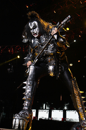 Kiss - Gene Simmons performing live on the Sonic Boom Over Europe Tour at Wembley Arena London - 13 May 2010.  Photo credit: Zaine Lewis/IconicPix