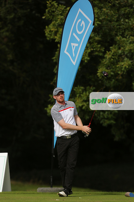 Ruairi O'Connor (Co.Sligo) on the 1st tee during the final of the AIG Senior Cup at Carton House.17/9/16<br /> Picture: Golffile | Jenny Matthews<br /> <br /> <br /> All photo usage must carry mandatory copyright credit (&copy; Golffile | Jenny Matthews)