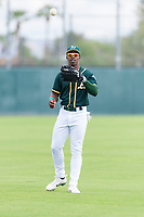 Oakland Athletics left fielder Lazaro Armenteros (13) warms up before an exhibition game against Team Italy at Lew Wolff Training Complex on October 3, 2018 in Mesa, Arizona. (Zachary Lucy/Four Seam Images)