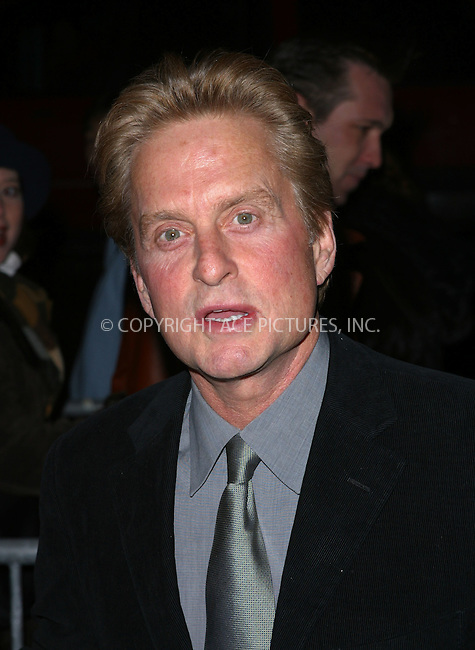 "Michael Douglas arrives at the special screening of ""Chicago."" New York, December 18, 2002. Please byline: NY Photo Press. REF: M19 -- THIS REFERENCE CODE MUST APPEAR ON YOUR SALES REPORT, THANK YOU.....*PAY-PER-USE*      ....NY Photo Press:  ..phone (646) 267-6913;   ..e-mail: info@nyphotopress.com"