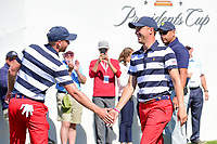 Daniel Berger (USA) wishes Justin Thomas (USA) luck as Thomas departs the first tee during round 4 Singles of the 2017 President's Cup, Liberty National Golf Club, Jersey City, New Jersey, USA. 10/1/2017. <br /> Picture: Golffile | Ken Murray<br /> <br /> All photo usage must carry mandatory copyright credit (&copy; Golffile | Ken Murray)