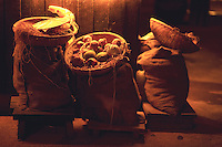 A slice of rural life in a village in India. Onion and Potatoe sacks.