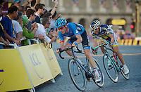 David Millar (GBR) & Juan Antonio Flecha (ESP) putting up an escape show on the Champs-Elysées<br /> <br /> Tour de France 2013<br /> (final) stage 21: Versailles - Paris Champs-Elysées<br /> 133,5km
