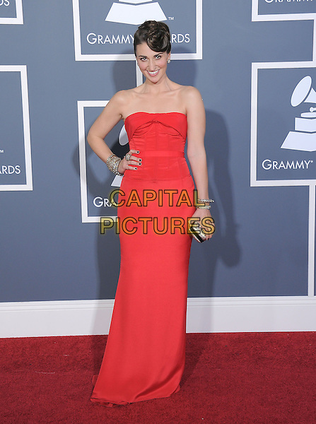 SARA BAREILLES.attending The 53rd Annual GRAMMY Awards held at The Staples Center in Los Angeles, California, USA,.February 13th 2011..arrivals grammys full length strapless red dress hand on hip long maxi                                                                                  .CAP/RKE/DVS.©DVS/RockinExposures/Capital Pictures.