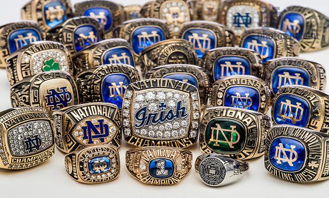 June 3, 2015; National Championship rings. (Photo by Matt Cashore/University of Notre Dame)