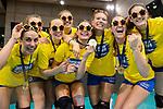 28.04.2018, SCHARRena, Stuttgart<br />Volleyball, Bundesliga Frauen, Play-offs, Finale 3. Spiel, Allianz MTV Stuttgart vs. SSC Palmberg Schwerin<br /><br />Jubel Luna Veronica Carocci (#7 Schwerin), Sebastian KŸhner / Kuehner (#10 Berlin), Beta Dumancic (#11 Schwerin), Greta Szakmary (#1 Schwerin), Kaisa Alanko (#8 Schwerin), Marie Schšlzel / Schoelzel (#16 Schwerin)<br /><br />  Foto &copy; nordphoto / Kurth